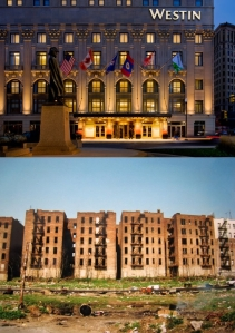 Top:  Exterior of Orr's Detroit residence. Bottom:  Exterior of Detroit residents who are forced to pay for it.