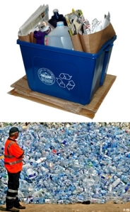 Top: Guilt Box Bottom: Plastic bottles in landfill