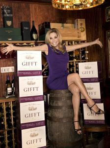 kathie with wine cases