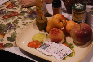 Irony-fortified wax fruit on display at Eat Like You Give A Damn. I didn't.