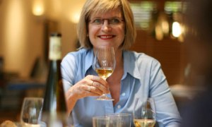 Jancis with a glass of something rieslingy.